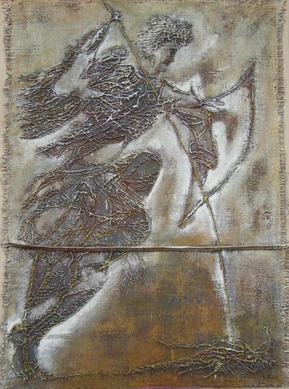 """""""E' guerriero di luce l'angelo"""", tecnica mista su tela e tavola, cm 120x160. Anno 2009"""
