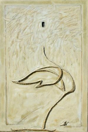"""""""Sotto il luogo del rimosso"""", tecnica mista su tela di juta cm 150x100, anno 2004."""